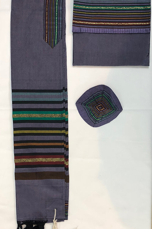 Purple with multi-colored stripes Tallit