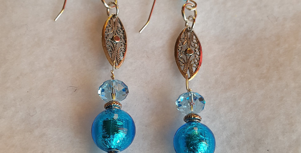 Blue Murano glass rounds w/ light sapphire Swarovski crystal rondelles earrings