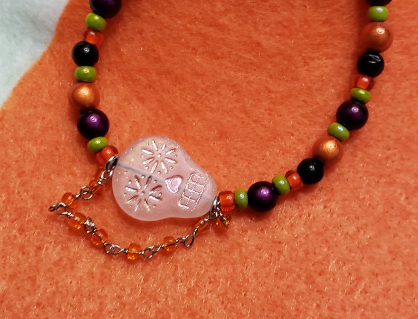 Sugar Skull with Glass Beads