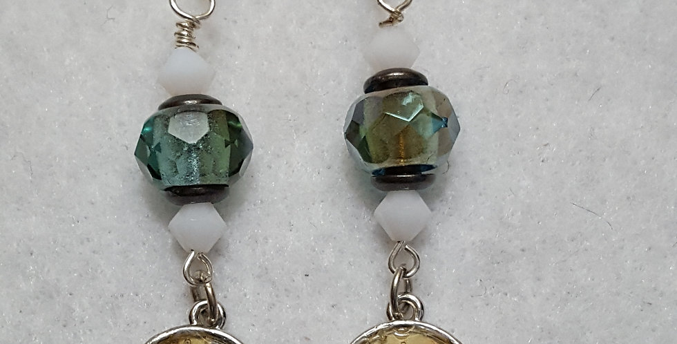 Vintage faceted blue-green faceted Czech glass rondelles earrings