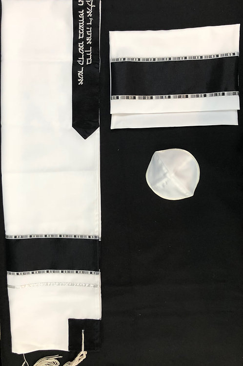 White with Black Stripe and Silver Pattern Accents Tallit