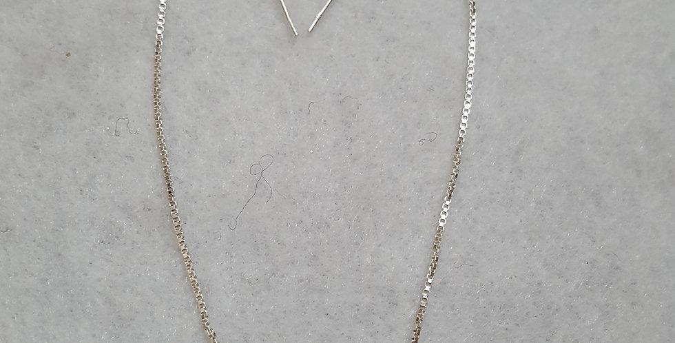 "3"" Sterling silver box chain thread earrings"