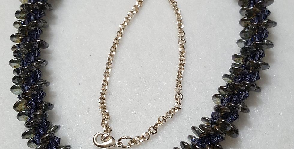 Hand Braided Purple Swarovski Crystal Necklace