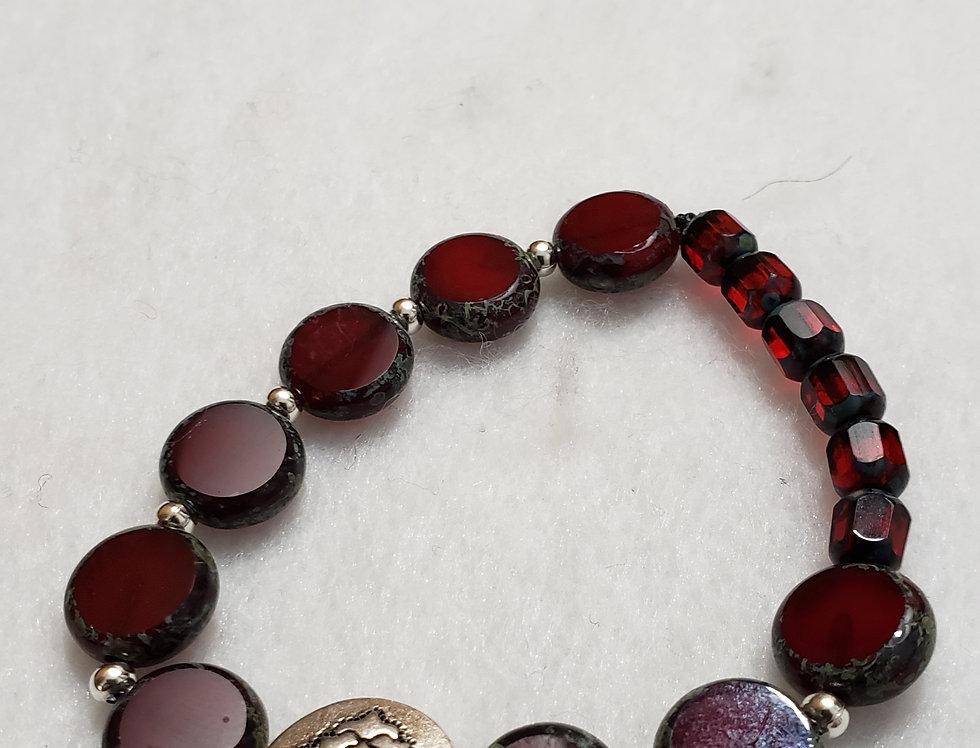 Czech Picasso Coin Beads Bracelet