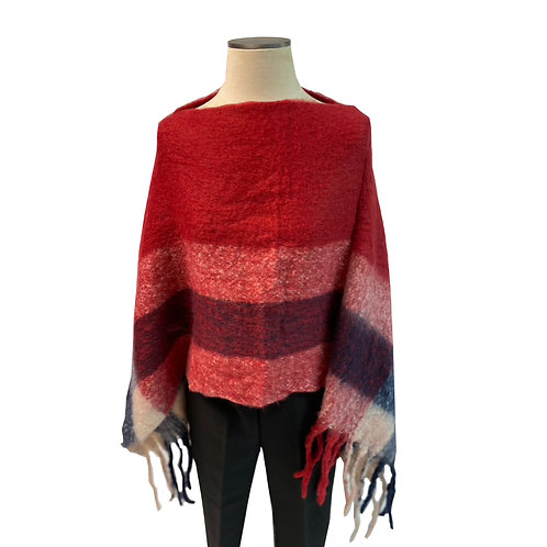 Red Burberry Poncho
