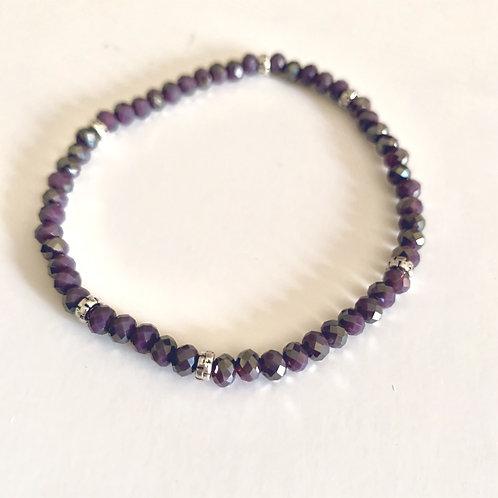 Mini Crystal Twilight Lavender Beaded Bracelet