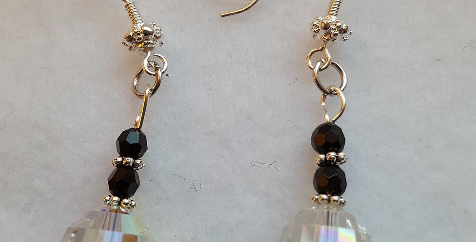 Round Swarovski clear chessboard crystal earrings