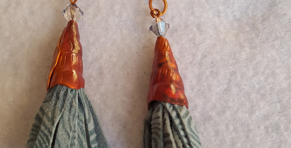 Etched copper cone w/strips of blue suede