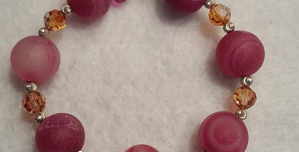 Agate Pink Druze Stone bracelet
