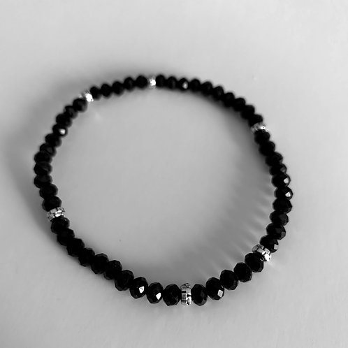 Mini Crystal Black Beaded Bracelet