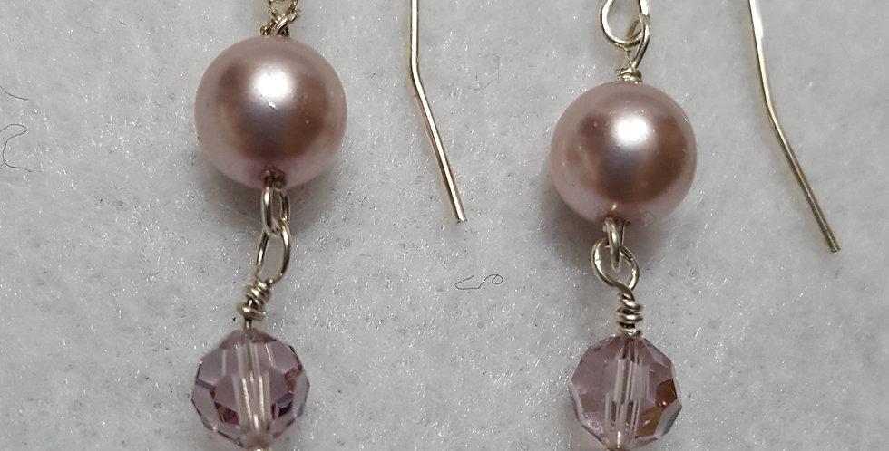 Light pink Swarovski crystal pearl earrings