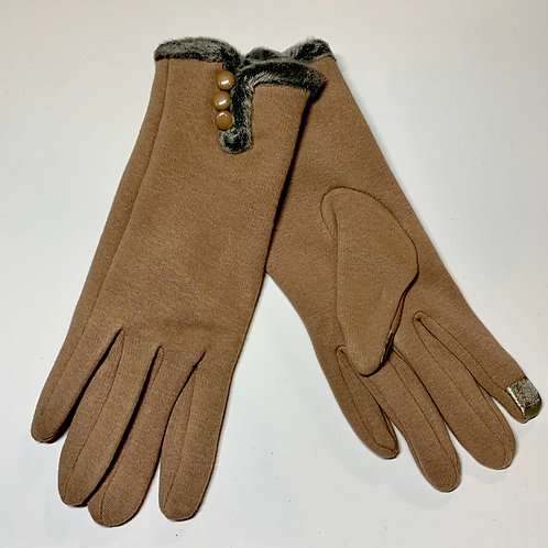 Beige Fur Gloves