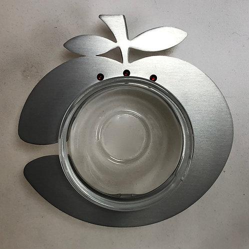 Metal and Glass Honey Dish