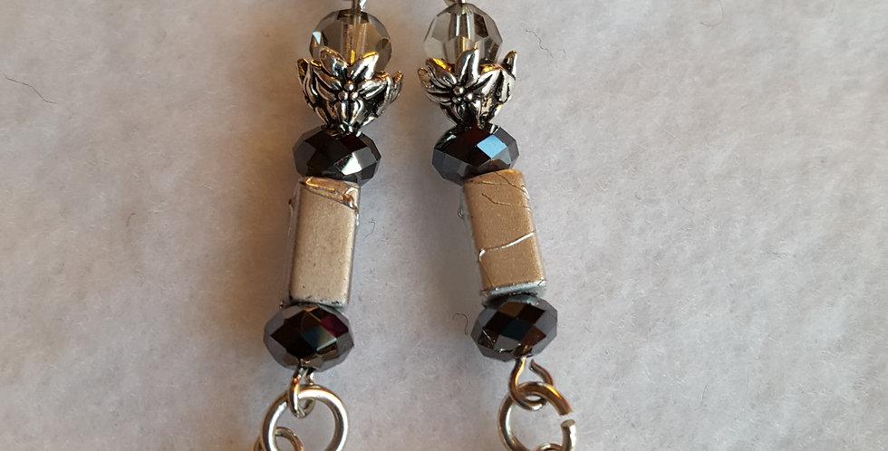 Black diamond Swarovski crystals nestled in silver end caps earrings