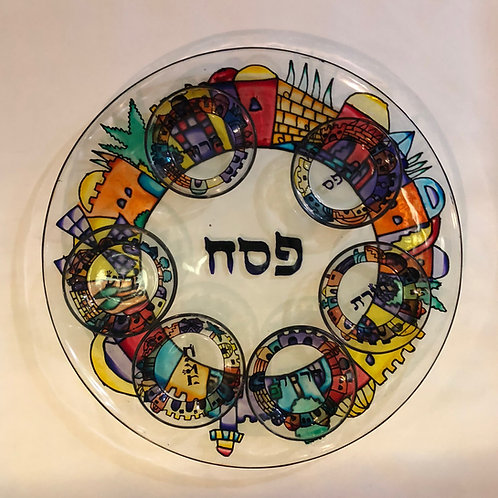 Painted Glass Seder Plate
