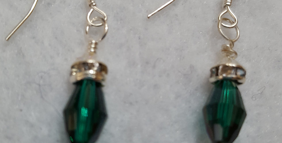 "Green AB ""long bi-cone"" Swarovski crystals earrings"