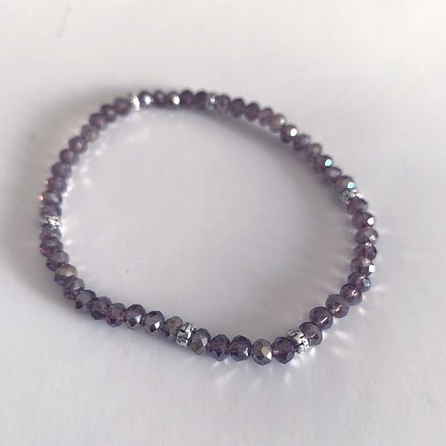 Mini Crystal Plum Beaded Bracelet