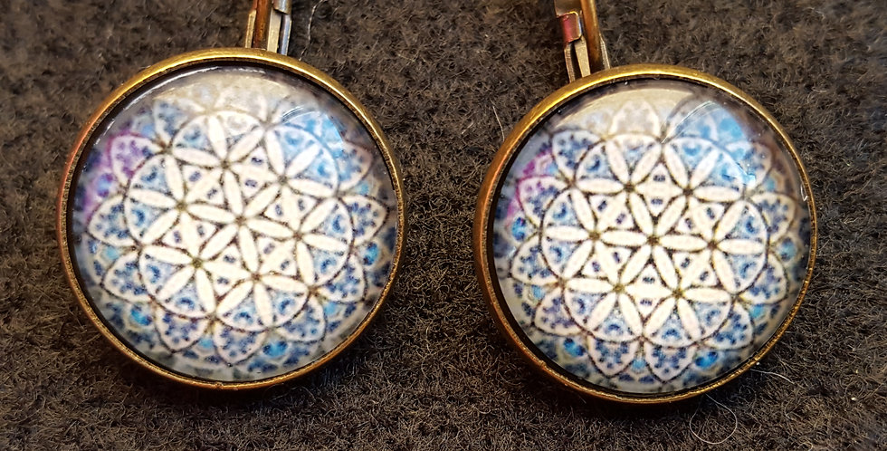 Blue & White Flowered Domed Earrings