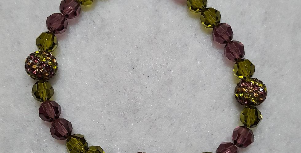 Purple and green round Swarovski crystal bracelet
