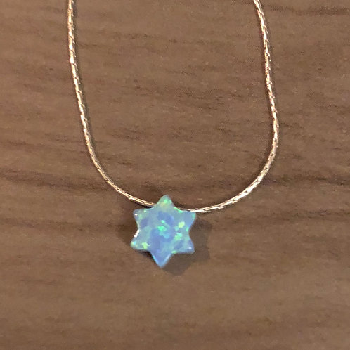 Carved Stone Star of David on Sterling Silver Necklace (Blue)