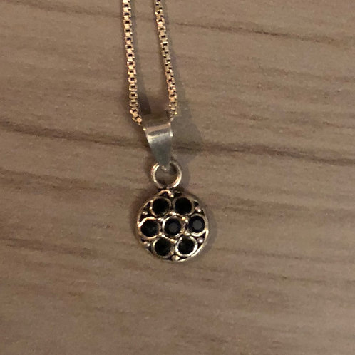 Antiqued Silver Black Onyx Stone Flower Pendent