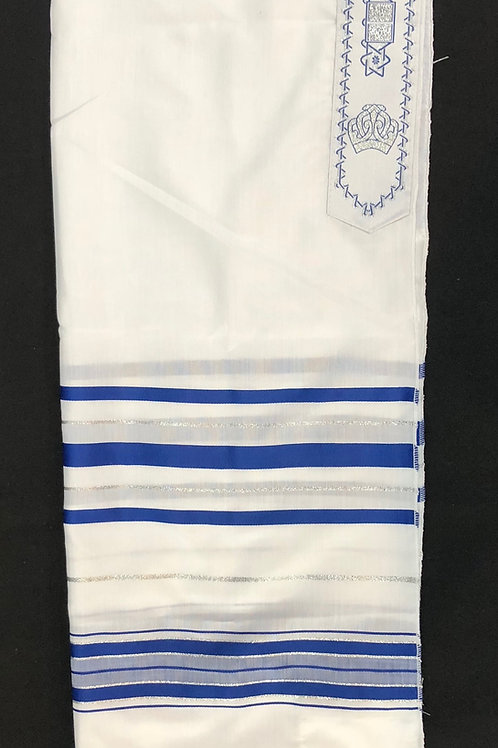 Traditional White and Blue Stripe Tallit - 100% Wool