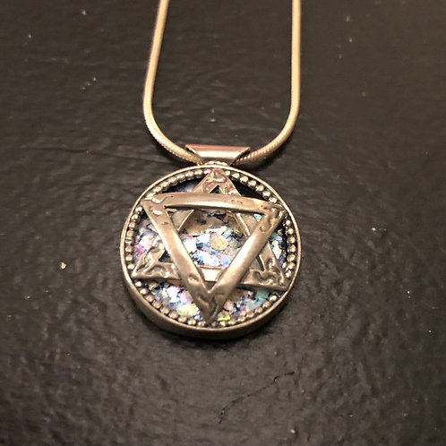 Star of David Silver and Roman Stone necklace and pendant
