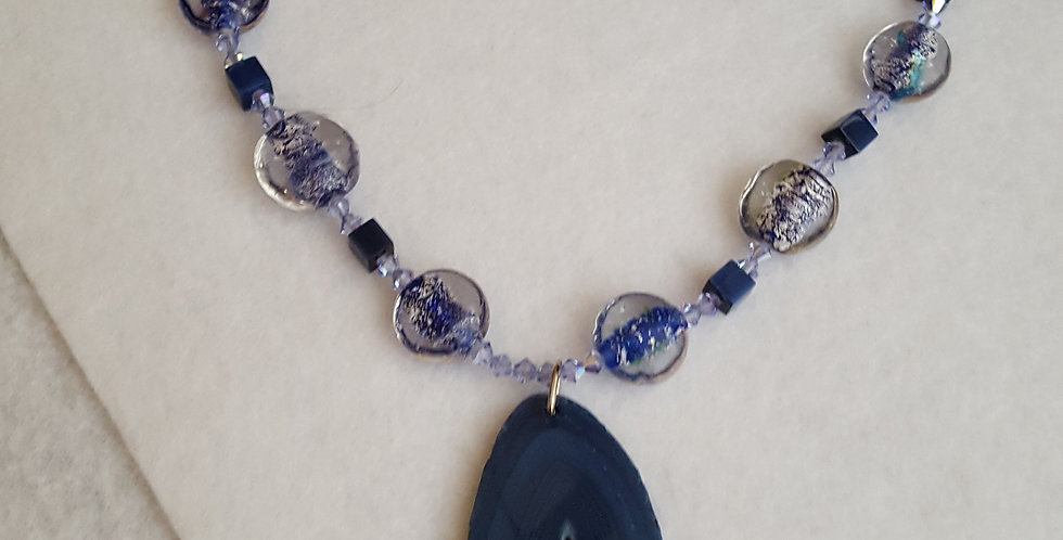 Blue Agate necklace with round and oval glass beads