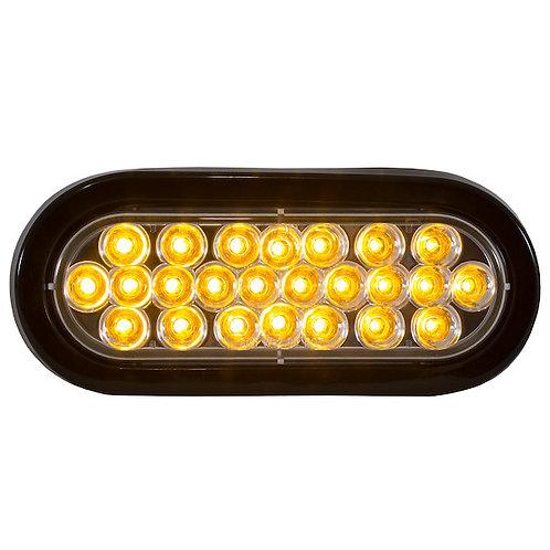 "Oval Recessed Amber 6"" LED Strobe w/Quad Flash (Amber LEDs, Clear Lens)"