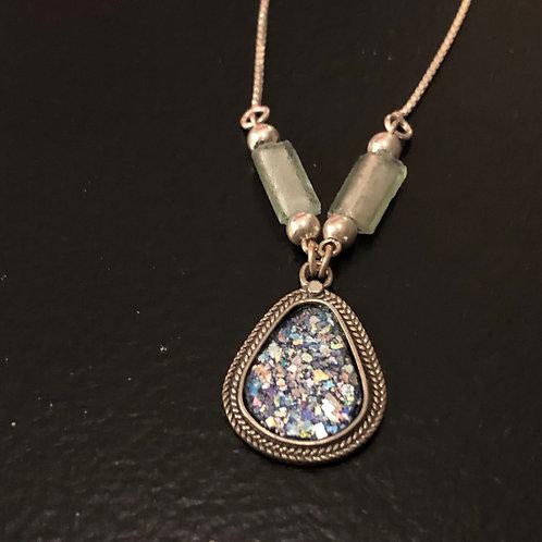 Teardrop Silver/Roman Stone Necklace and Pendant