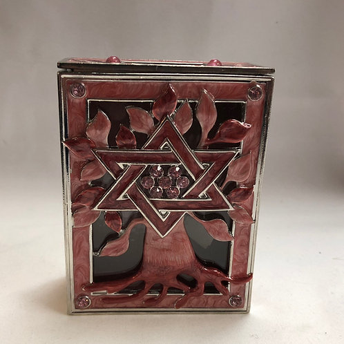 Enamel Tzedakah Box - Tree of Life
