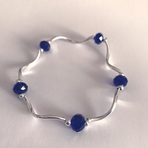 Cobalt Bead and Metal Bracelet