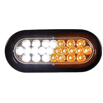 "Oval Recessed Amber/Clear 6"" LED Strobe w/Quad Flash"