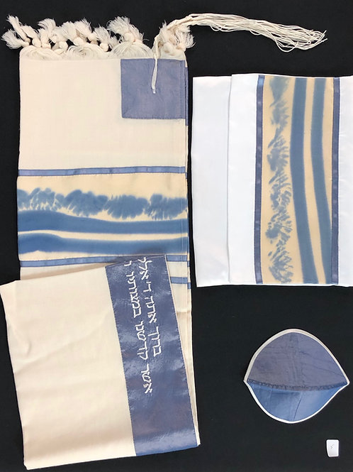 Cotton and Blue Silk Screen Tallis