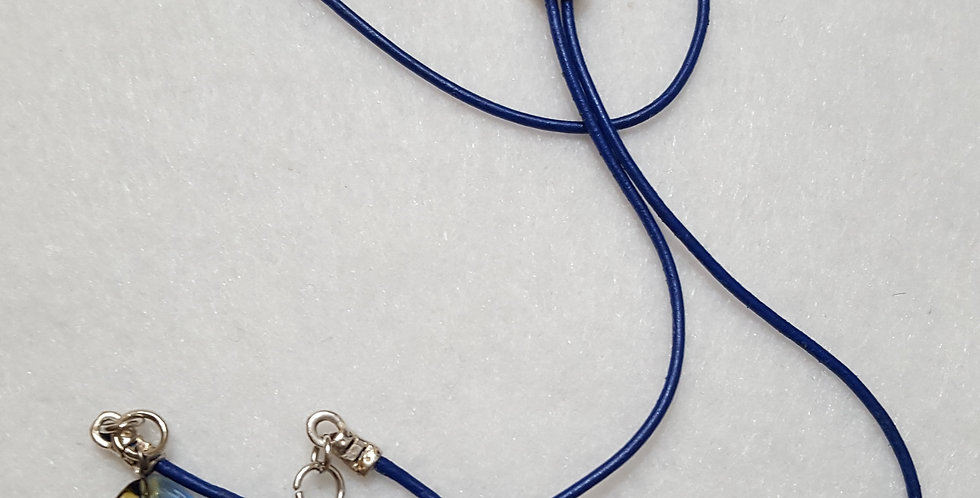 Cobalt Blue Leather Cord Necklace