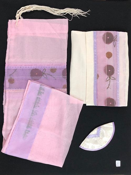 Purple Pink Silk Screen Tallis with flowers