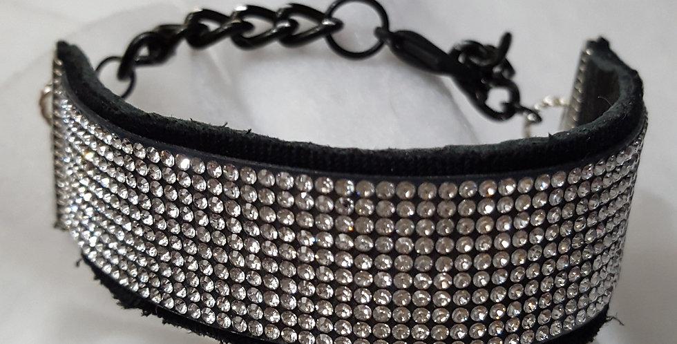 Black leather bracelet with 10 rows of Swarovski Crystal bracelet