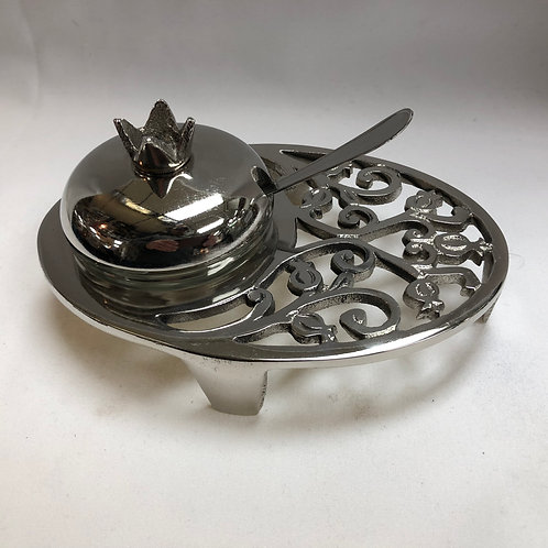 Decorative Metal Honey Serving Dish