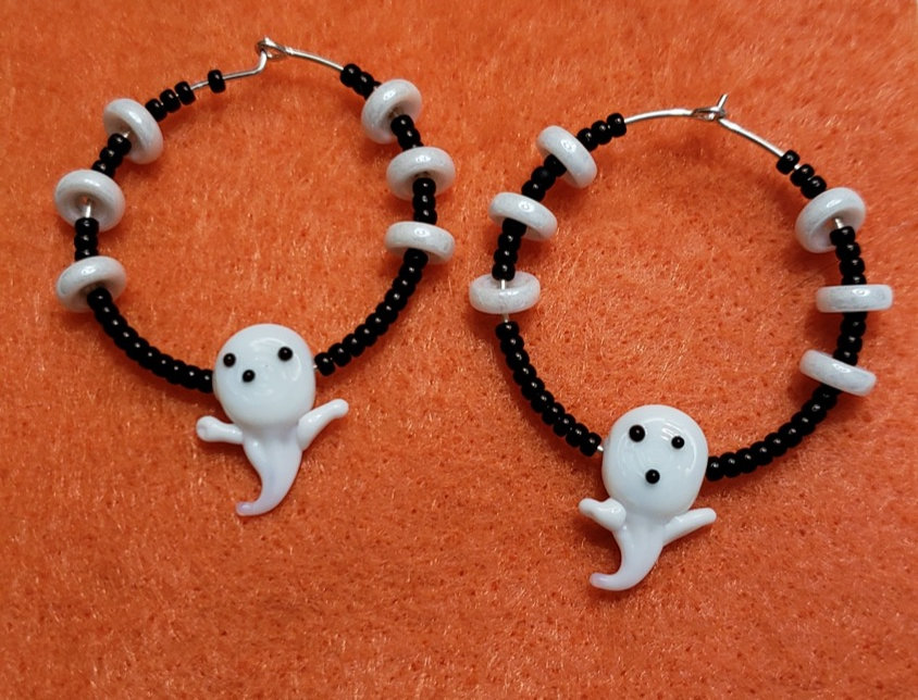 Black Miyuki Seed Bead Earrings
