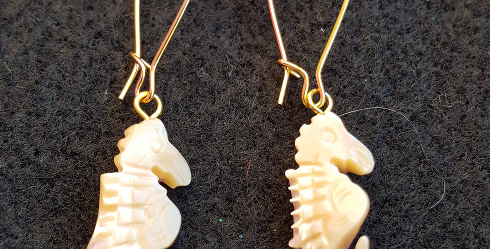 Mother-of-Pearl Shaped Sea Horses Earrings