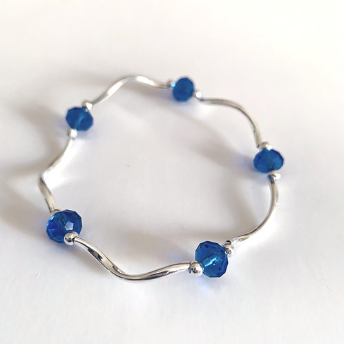 Marina Blue Bead and Metal Bracelet