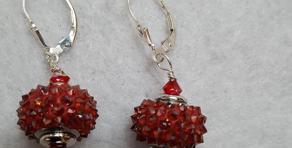 Red spike Swarovski crystal earrings