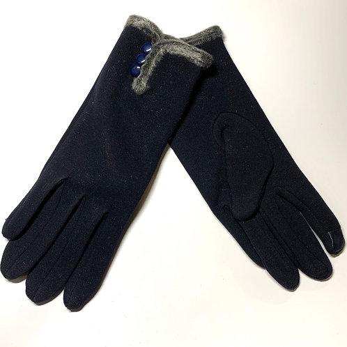 Navy Fur Gloves