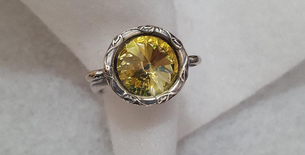 Antique silver ring with yellow Rivoli Swarovski crystal