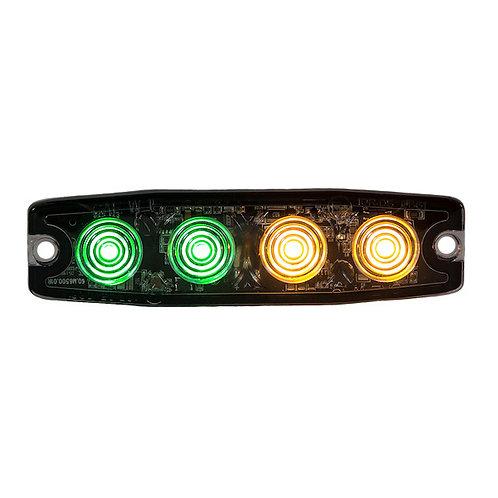 "Ultra Thin 4.5"" Green/Amber LED Strobe Light"