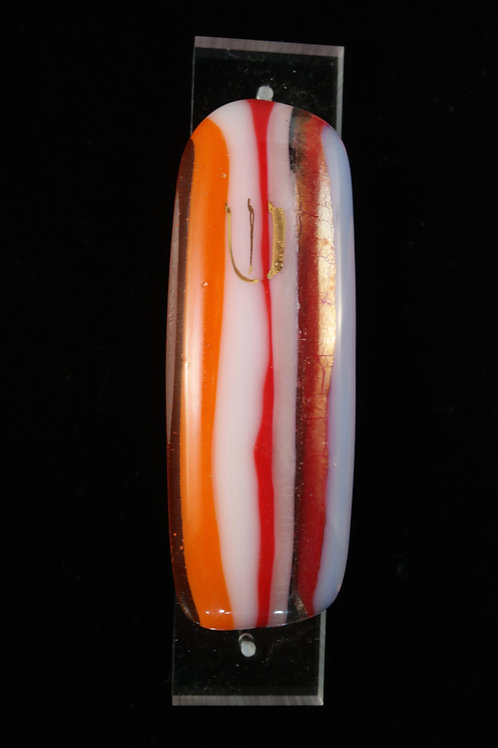 Glass Mezuzah - Orange, White and Red