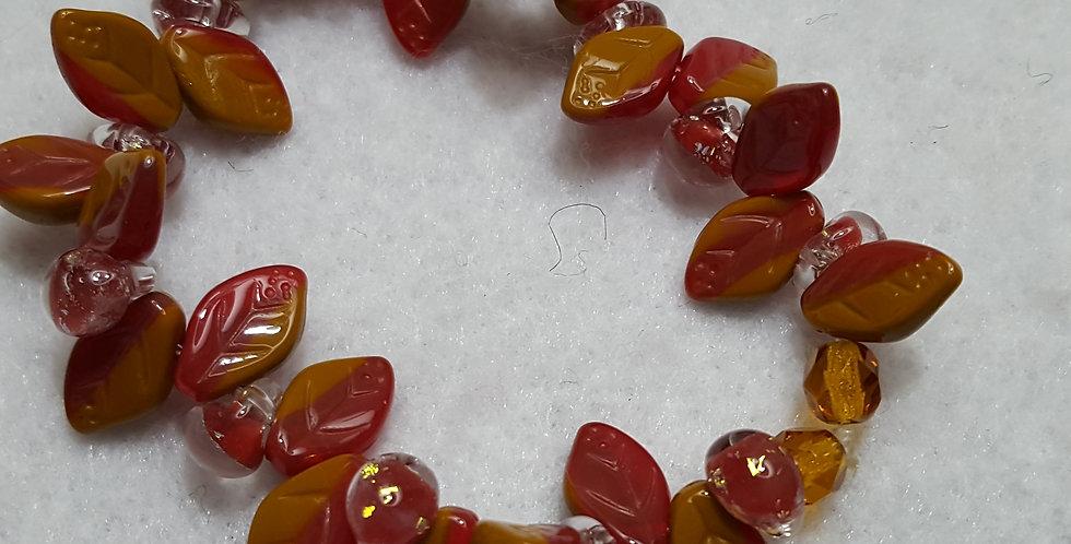 Burgundy-red/caramel Czech glass leaves bracelet