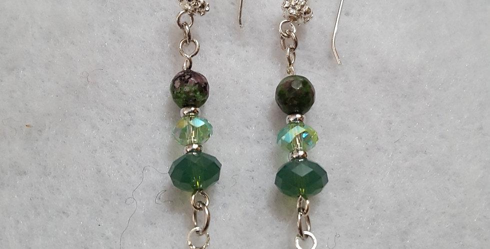 Green crystal in round silver bezel w/Swarovski palace green opal rondelle earri