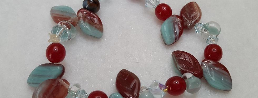 Tiffany blue/oxblood Czech glass bracelet