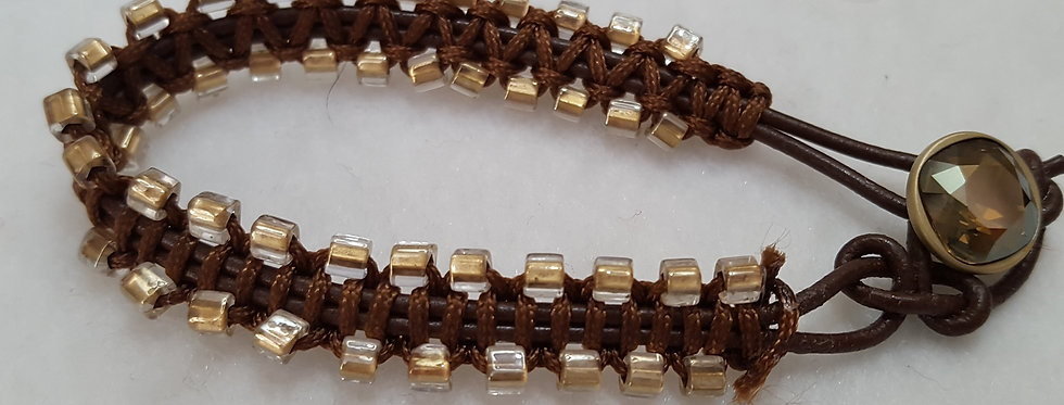 "Double strand ""zipper"" bracelet on leather (Brown)"